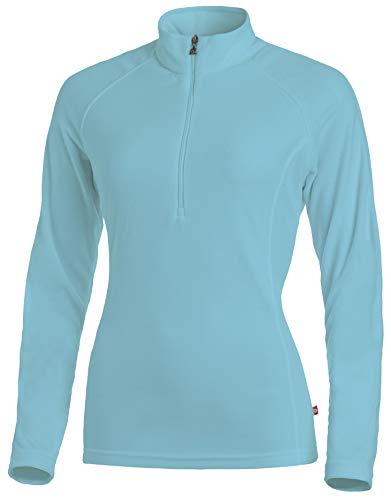 Medico Damen Ski Shirt, 34, Bachelor, Hellblau, 100% Polyester, Fleece, Langarm, Reißverschluss
