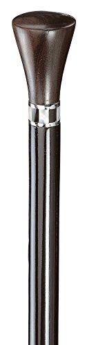 Gehstock ARTDEKO Knaufstock Frackstock, Griff aus massivem, handpoliertem Ebenholz,Schmuckring aus Einlegearbeit Perlmut/Onyx, aufgesetzt auf einen seidenmatt-schwarz lackierten Hartholzstock, inklusiv Schlankpuffer.