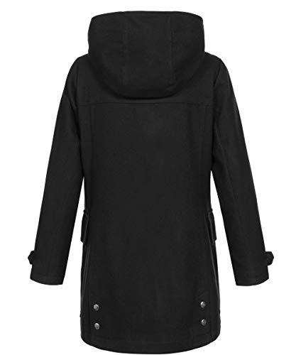 SOVENTUS Damen Wollmantel Wintermantel Dufflecoat 70% Wolle Herbst Winter Mantel