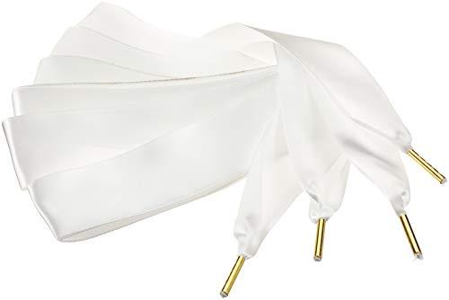 ZORESS Damen Satin-Band Schnürsenkel für Sportschuhe, Freizeitschuhe(59.06''(150cm), Weiße) -