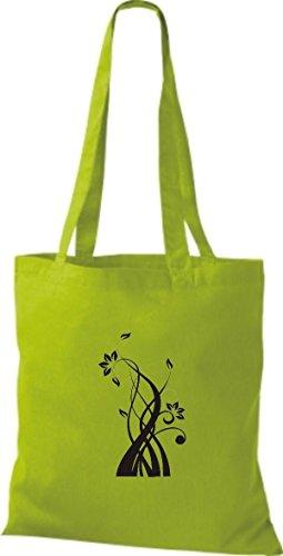 Sacchetto Di Stoffa In Cotone A Forma Di Fiore Borsa A Mano In Cotone Con Motivo Ornamentale, Vari Colori Verde Lime