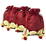 Line N Curves Decorative Velvet Flower Potli Pouch For Ganesh Pooja, Storage, Wedding Gift Pack, Diwali Dry Fruit Packing, Trousseau Packing (Pack Of 10 In Cherry Red Color)