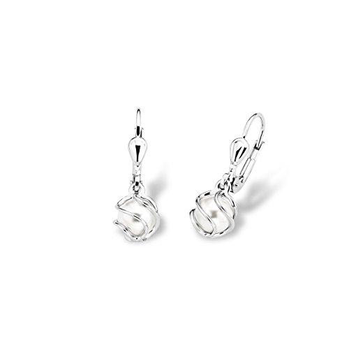 Amor Damen-Ohrhänger 23 mm 925 Silber rhodiniert Wachsperlen weiß