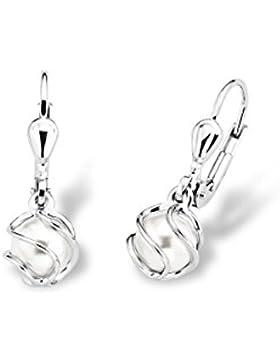 amor Damen-Ohrhänger 925 Silber rhodiniert Synthetische Perle Weiß 2.3 cm - 2017167
