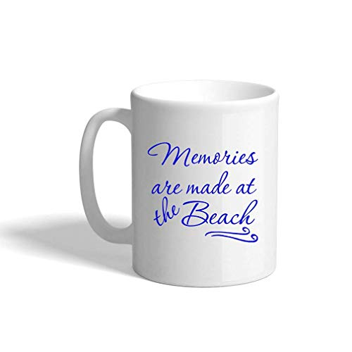 ZTLKFL Royal Blue Memories Are Made at The Beach #2 Ceramic Coffee Cup White Mug