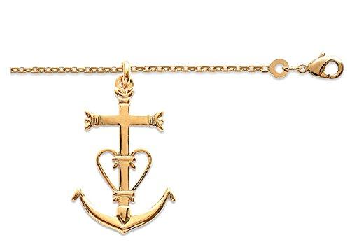 pendentif grande croix de camargue des saintes maries,ensemble collie grande croix camargaise plaqué or et chaine en 50cm avec boite ecrin