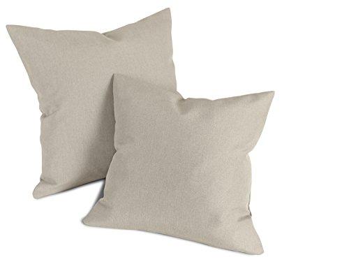 Doppelpack zum Sparpreis - Milano - Kissenhüllen erhältlich in 23 Unifarben und 2 verschiedenen Größen - hochwertiger Polsterstoff mit Perleffekt, taupe, 40 x 40 cm