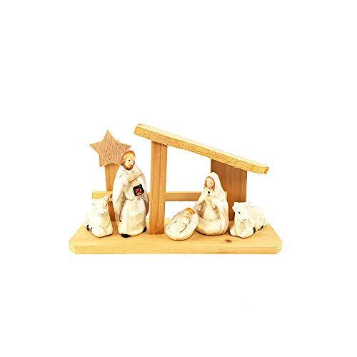 General trade natività presepe set presepio con capanna in legno stile shabby chic provenzale paesaggio completo con personaggi re magi pastori h12 cm