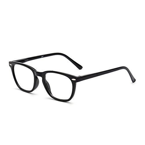 JM Retro Lesebrille Federscharnier Schwarz Leser Damen Herren Brillen zum Lesen +2.0