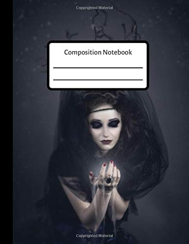 Composition Notebook: Scary Halloween Witch Goth Lined Journal, Diary for Girls