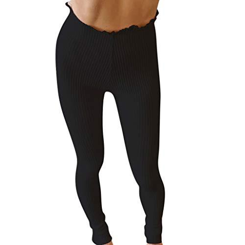 Belted Hosen Leinen (Damenhose, modisch, lässig, robust, hohe Taille, Stretch, figurbetont, süß, für Herbst und Winter s Schwarz)