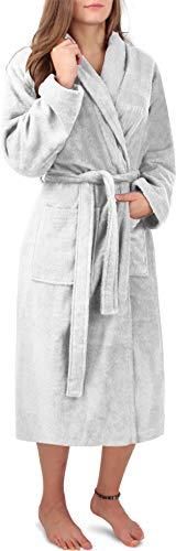 Circle Five Damen Bademantel, Sauna-Mantel, Morgenmatel aus 100% Baumwolle Oeko-Tex 100 [Gr. XS-4XL] Farbe Weiß Größe M