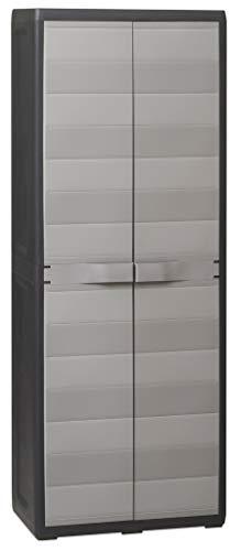 Mueble armario escobero de plástico duro de resina gris y negro 65 x 38 h 171 cm multiusos con estantes...