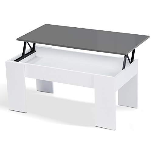 IDMarket - Table Basse avec Plateau relevable Bois Blanc et Gris