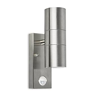 Modern Up/Down Outdoor Security Wall Light - PIR Motion Sensor Detector - IP44 Rated