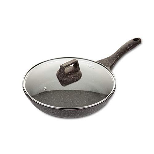 Pfannen Antihaft-Pan weniger geräucherter Wok mit Glasdeckel , Ungiftige Steinbeschichtung Steak-Eierpfanne mit Verbrühschutz (größe : 24cm)