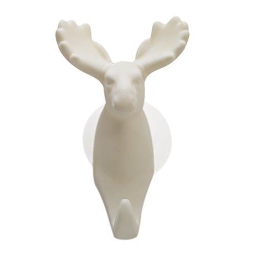 Idiytip Weiß Einzeltier Shaped Elk Saugnapf Haken Tier Wandhalter Dekoration Für Badezimmer -