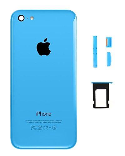 IdealGame - Carcasa trasera con estructura para iPhone 5C (incluye botones, placa para tarjeta SIM y herramientas), color azul