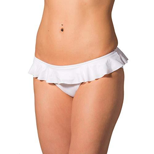 Aquarti Damen Bikini Hose mit Rüschen, Farbe: Weiß, Größe: 40 (Höschen Rüschen Weiße)