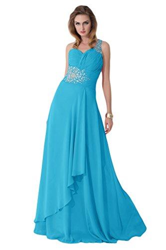 Sunvary Hochwertig 2015 Neu Ein-Traeger Chiffon Perlen Paillette Abendkleid Lang Ballkleider Blau