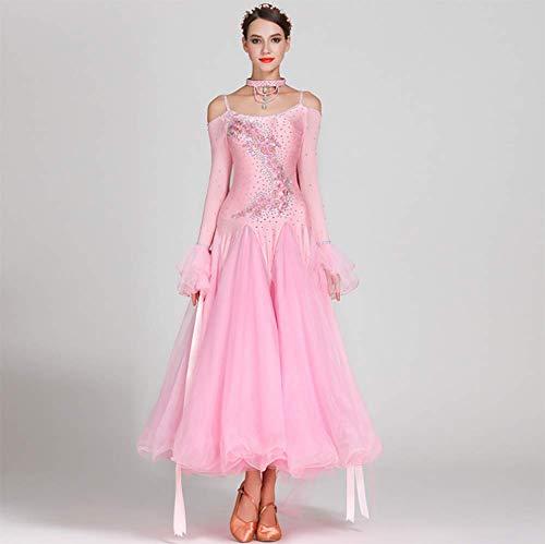 Modern Dance Rock für Frauen Gesellschaftstanz Outfit Waltz Performance Competition Kleider Tango Dance Kostüm,Pink,M