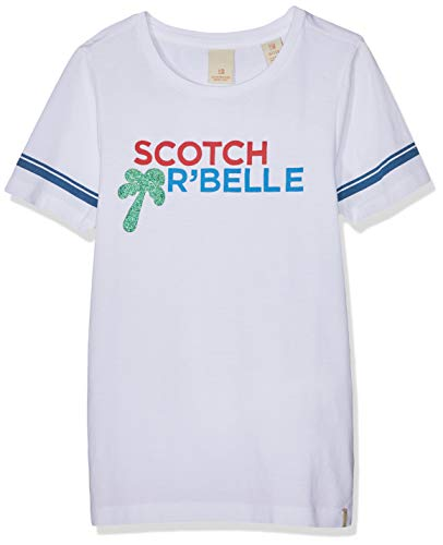 Scotch & Soda R´Belle Mädchen Regular fit Short Sleeve Tee with Placed Artworks Sport Tank Top, Weiß (White 006), 116 (Herstellergröße: 6) -
