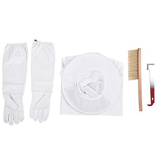 Jeffergrill 4 in 1 professionelles Imkerei-Schutzzubehör mit Handschuhen, Bienenstockwerkzeug, Anzug und Bürste