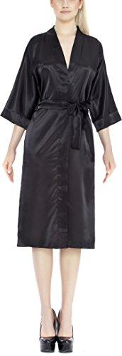 Lady-Mode Morgenmantel aus Satin Liana (XS – 2XL) Schwarz