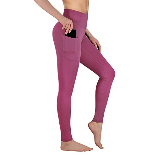 Gimdumasa Pantalón Deportivo de Mujer Cintura Alta Leggings Mallas para Running Training Fitness Estiramiento Yoga y Pilates GI188 (Begonia Rosa, XL)