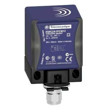 Telemecanique Sensors xs9C2a2a1m12Capteur inductif de proximité en plastique, matériel Caisse PBT, 3Cables, 25mm Distance de détection nominale, 24VDC, 4Pin M12Connecteur mâle, 40x 40x 70mm Form