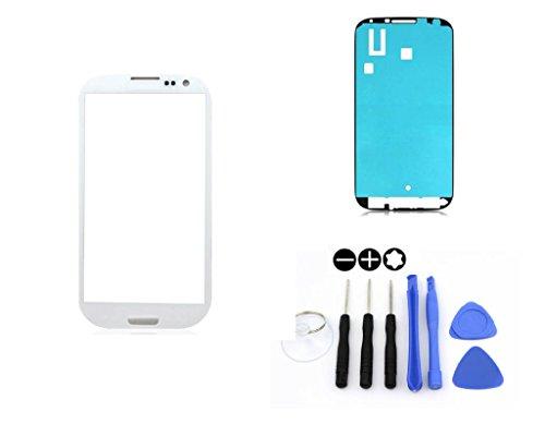 R.P.L. FRONTGLAS SET passend für SAMSUNG Galaxy S3 mini Weiss White i8190 / Frontglas / Glas / Displayglas / LCD Reparatur / LCD Display / Klebefolie / Glass Replacement / 8 - Teiliges Werkzeugset TOOLS