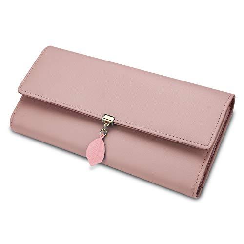 Geldbörse Damen Yaluxe Brieftasche RFID Blocking Echtleder Blatt Anhänger Snap Kartenhalter Veranstalter Mädchen Reißverschluss Rosa -