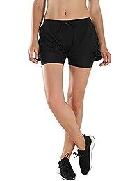 cbed5996345ad HAINES Pantalón Corto Deporte Mujer Short Running 2 en 1 Pantalones Cortos  para Correr Fitness Yoga