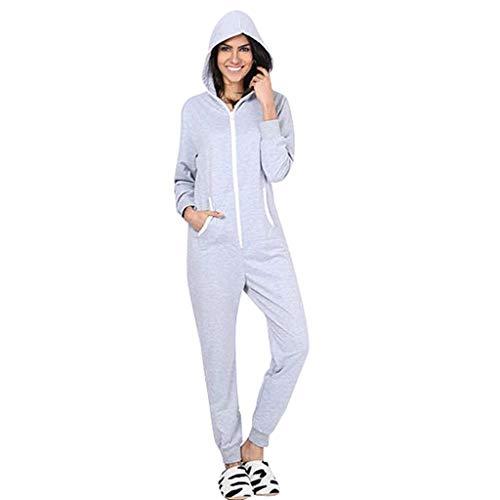 FRAUIT Damen Sport Overall Mit Kapuze Langarm Jumpsuit Sweatshirt Conjoined Home Service Siamesischer Schlafanzug Oberteil Weich Bequem Kleidung