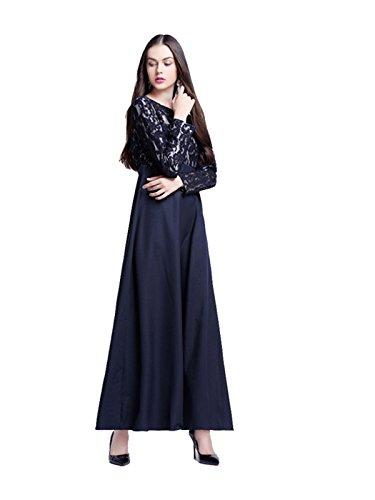 Dreamskull Muslime Muslim Abaya Dubai Kleid Muslimisch Islamisch Arab Arabisch Indien Türkisch Casual Abendkleid Abendmode Kaftan Kleidung Maxikleid Spitze Lace Dress Damen Frauen (M, (Arabische Saudi Kostüme Für Frauen)