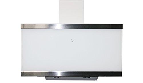 respekta kopffreie Schräghaube Dunstabzugshaube Abzugshaube Wandhaube Glas 90 cm weiß EEKL A+ / Touch Control / Abluft und Umluft / LED