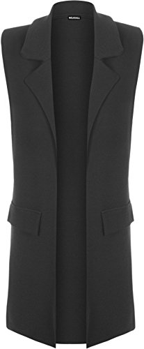 New-Womens-Sleeveless-Crepe-Open-Long-Waistcoat-Pocket-Top-Ladies-Jacket-8-14