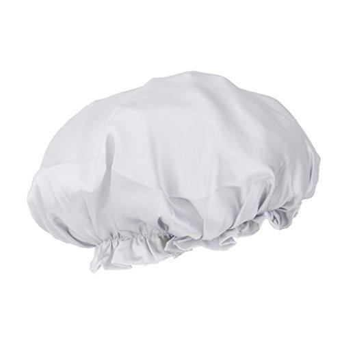 Abdeckung Hut, Mütze, (Sharplace Reine Seide Schlafmütze Nacht Schlaf Hut Haarpflege Schals Mütze Kopf Abdeckung 6 Farben - Silbergrau, 28x28CM)
