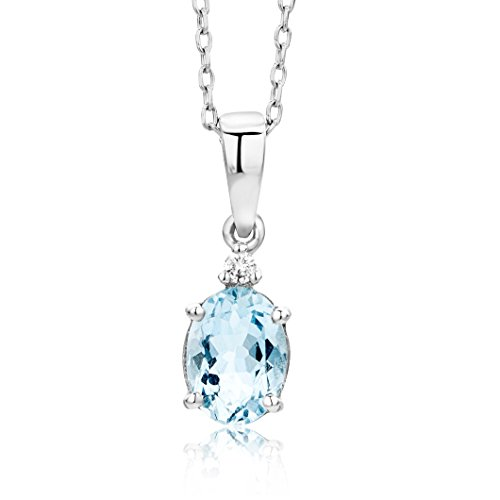 Miore Necklace - Pendant Women Chain Aquamarine with Brilliant Cut Diamond White Gold 9 Kt / 375     Chain 45 cm