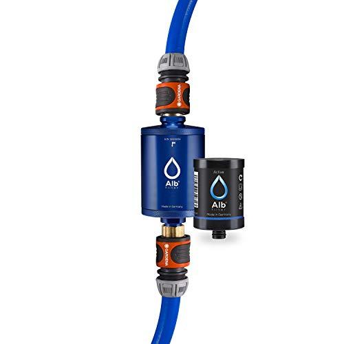 Alb Filter® MOBIL Active Trinkwasserfilter | Sauberes Trinkwasser unterwegs mit Boot, Yacht, Camping oder Mobilheim | Mit Gardena Anschluss Blau -