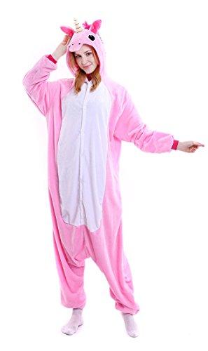 Imagen de pijama unicornio una pieza adulto animal kigurumi entero unisex para mujer hombre mono animales con capucha ropa de dormir traje de disfraz festival carnaval halloween navidad cosplay costume