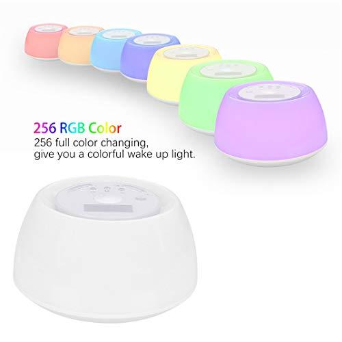 LED Bunte Atmosphäre Nachttischlampe, Simulierter Therapie-Time Sonnenaufgang Ton und Licht schlafen Wake Up Licht Wecker, Snooze Funktion Nachtlicht -