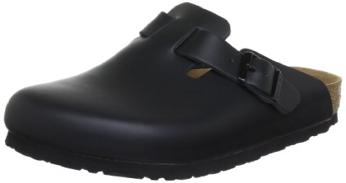Birkenstock Boston , Zoccoli unisex adulto, Nero, 44 (stretta)