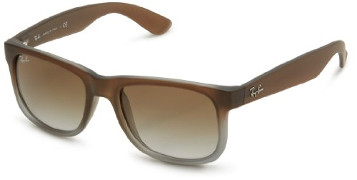 Ray-Ban Herren Wayfarer Sonnenbrille Mod. 4165 6One Size/8G, Gr. 51 Mm, Rubber Brown On Grey Frame/Green Gradient Lens