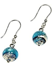 Earrings, woman pendants in 925 silver rhodium plated and Murano glass enhanced by a white gold leaf made in Florence OIR030/W01
