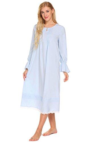 Ekouaer Damen Langarm Nachthemd Langes Nachtkleid Nachtwäsche Sleepwear Maxikleid mit Spitze Blau