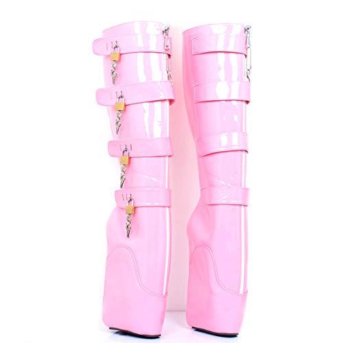 COSY-L Extreme Fetisch Ballet Stiefel Damen High Heels mit Schloss 36-46,Pink,38EU/7US