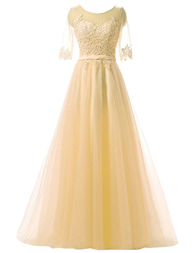 Clearbridal Damen Prinzessin Ballkleid Abschlusskleid Lang Abendkleid Langarm mit Spitze CAH004...