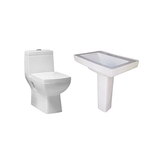 Belmonte One Piece Water Closet Square S Trap With LCD Pedestal Wash Basin - Ivory