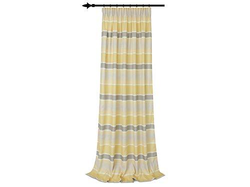 Blickdichter Vorhang Tempa - mit verdeckten Schlaufen und Gardinenband - farbig gewebtes Streifenmuster mit Farbverläufen - Wohndekoration in elegantem Design - Made in Germany - in 8 Farben, gelb-taupe